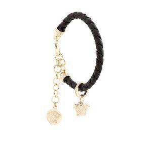 Versace Black and Gold Woven Medusa Charm Bracelet
